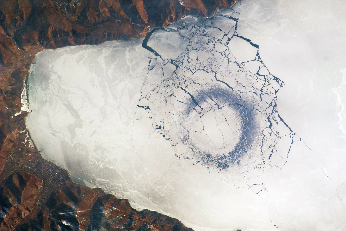 Lake Baikal circles in ice