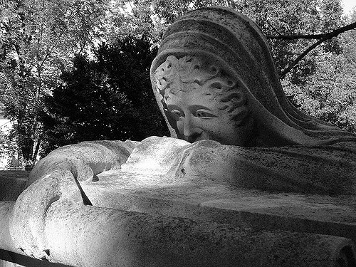 Weeping woman statue face