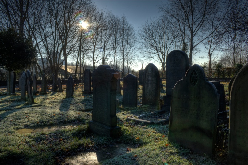 graveyard with sun